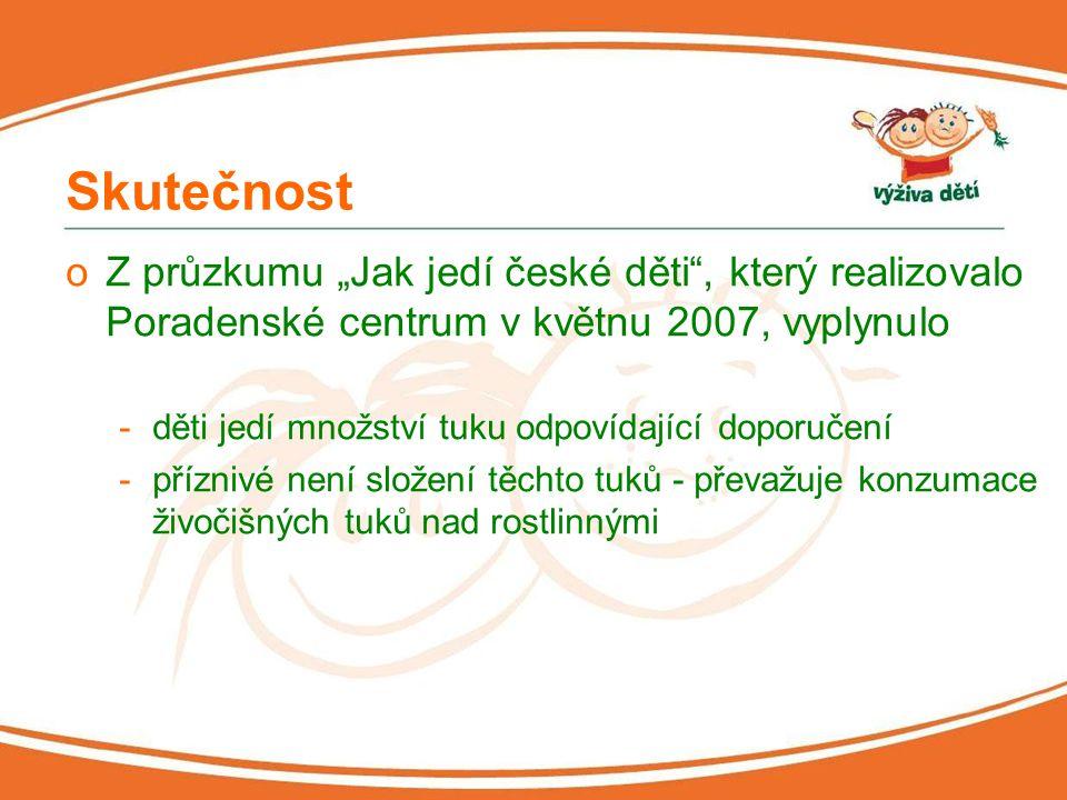 """Skutečnost oZ průzkumu """"Jak jedí české děti"""", který realizovalo Poradenské centrum v květnu 2007, vyplynulo -děti jedí množství tuku odpovídající dopo"""