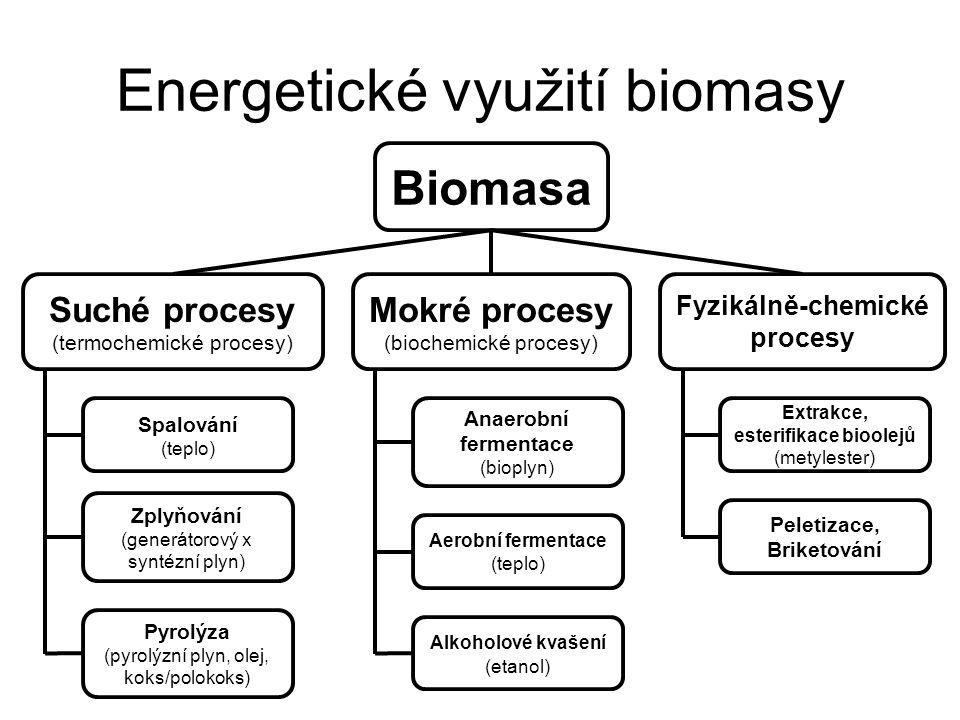 Energetické využití biomasy Biomasa Suché procesy (termochemické procesy) Mokré procesy (biochemické procesy) Fyzikálně-chemické procesy Spalování (teplo) Zplyňování (generátorový x syntézní plyn) Pyrolýza (pyrolýzní plyn, olej, koks/polokoks) Anaerobní fermentace (bioplyn) Aerobní fermentace (teplo) Alkoholové kvašení (etanol) Extrakce, esterifikace bioolejů (metylester) Peletizace, Briketování