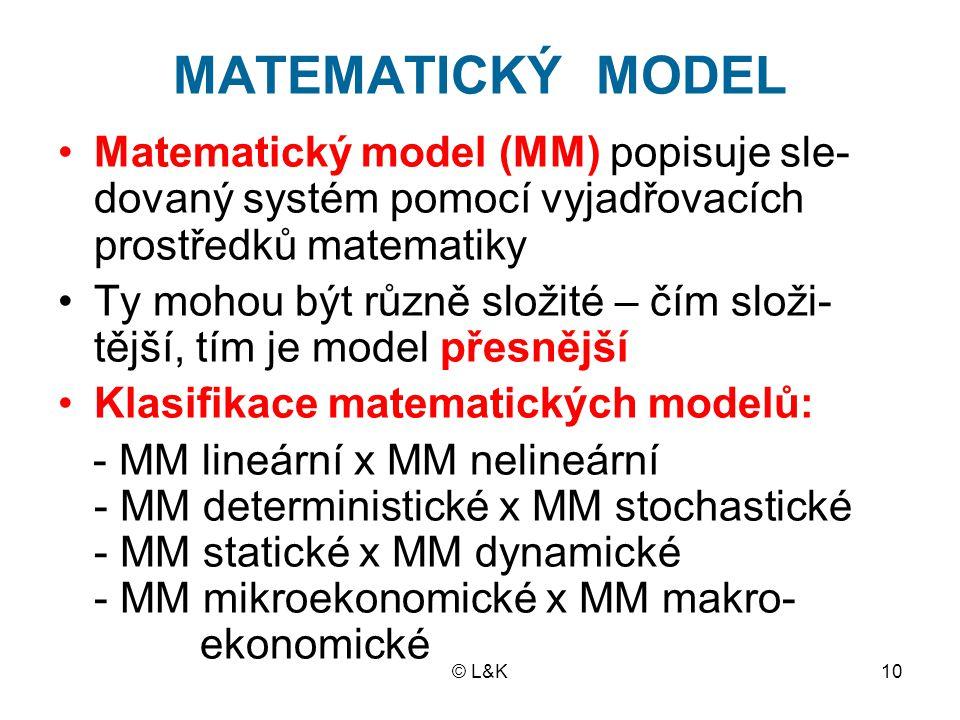© L&K10 MATEMATICKÝ MODEL Matematický model (MM) popisuje sle- dovaný systém pomocí vyjadřovacích prostředků matematiky Ty mohou být různě složité – č