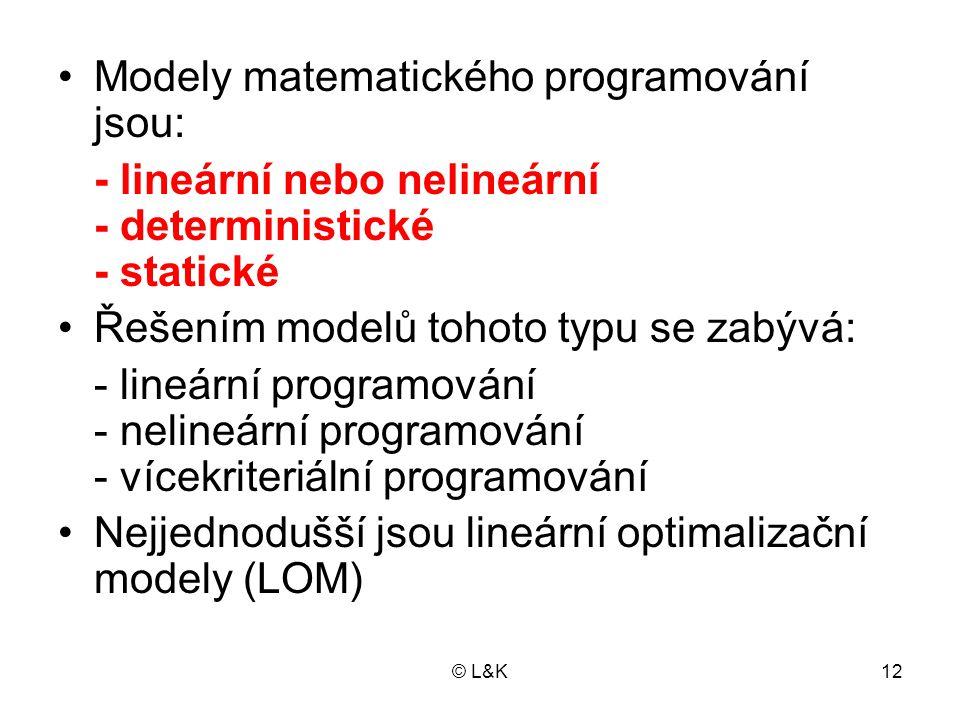 © L&K12 Modely matematického programování jsou: - lineární nebo nelineární - deterministické - statické Řešením modelů tohoto typu se zabývá: - lineár