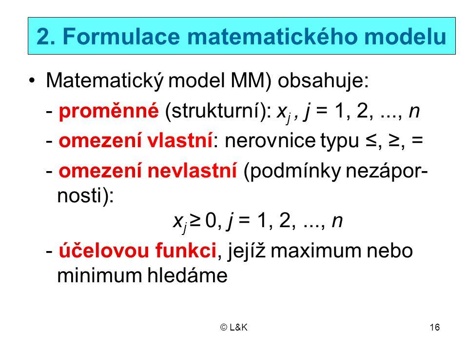 © L&K16 2. Formulace matematického modelu Matematický model MM) obsahuje: - proměnné (strukturní): x j, j = 1, 2,..., n - omezení vlastní: nerovnice t