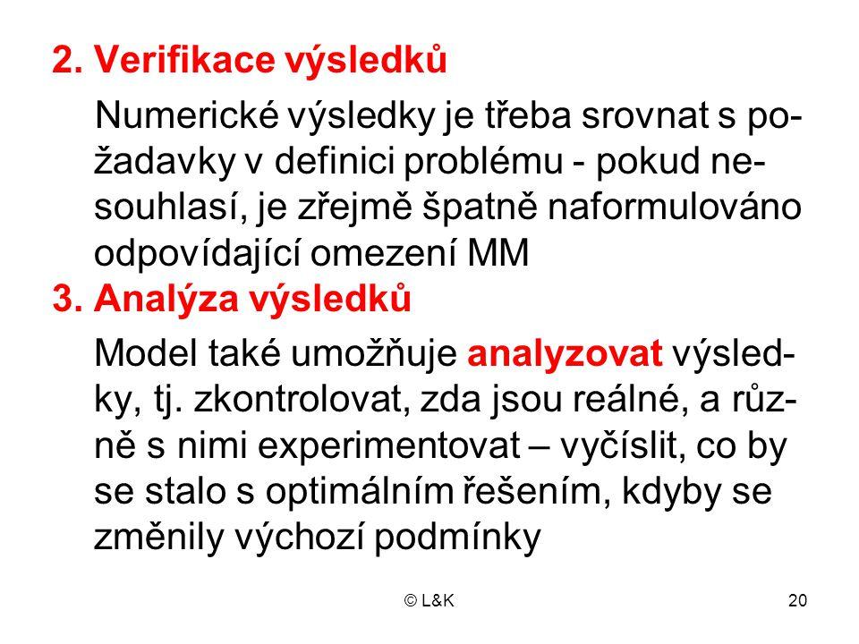 © L&K20 2. Verifikace výsledků Numerické výsledky je třeba srovnat s po- žadavky v definici problému - pokud ne- souhlasí, je zřejmě špatně naformulov