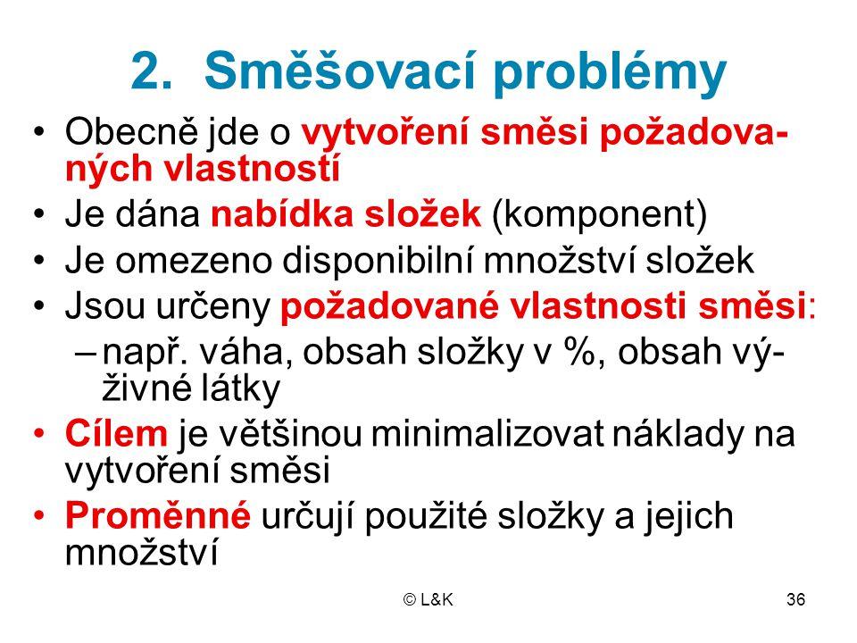 © L&K36 2. Směšovací problémy Obecně jde o vytvoření směsi požadova- ných vlastností Je dána nabídka složek (komponent) Je omezeno disponibilní množst