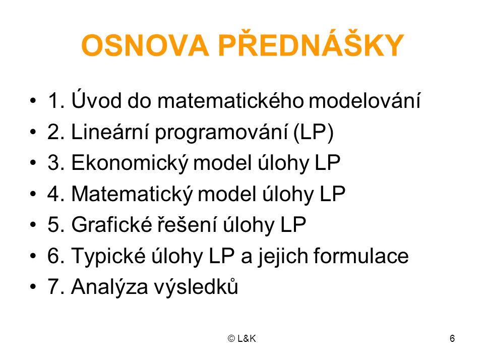© L&K6 OSNOVA PŘEDNÁŠKY 1. Úvod do matematického modelování 2. Lineární programování (LP) 3. Ekonomický model úlohy LP 4. Matematický model úlohy LP 5