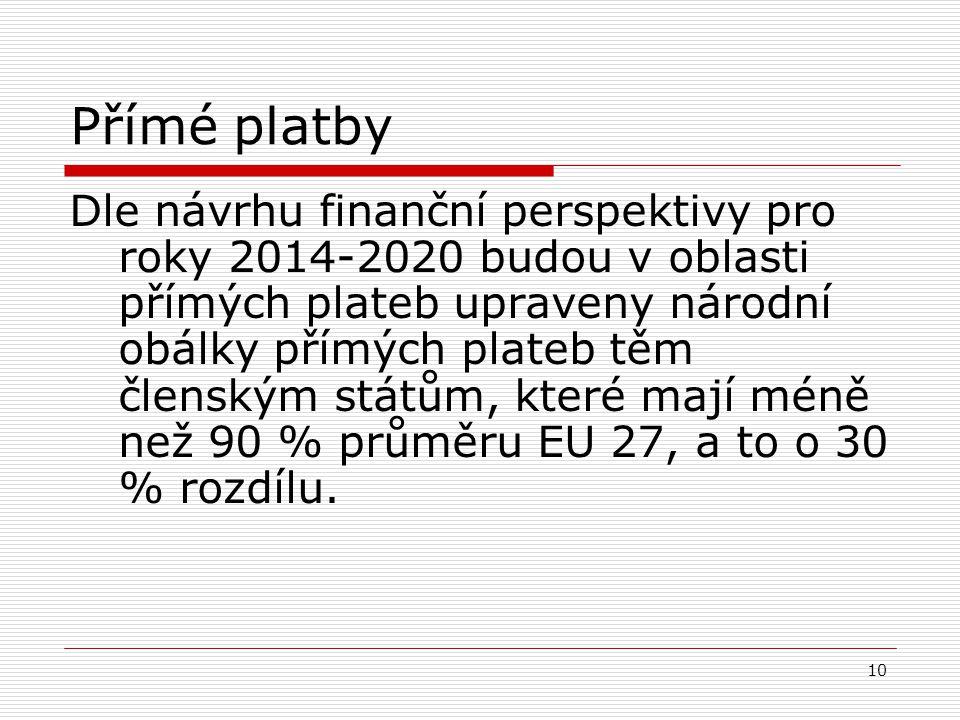 10 Přímé platby Dle návrhu finanční perspektivy pro roky 2014-2020 budou v oblasti přímých plateb upraveny národní obálky přímých plateb těm členským