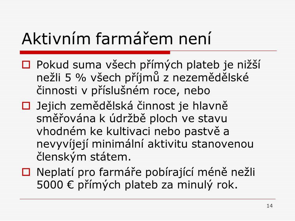 14 Aktivním farmářem není  Pokud suma všech přímých plateb je nižší nežli 5 % všech příjmů z nezemědělské činnosti v příslušném roce, nebo  Jejich z