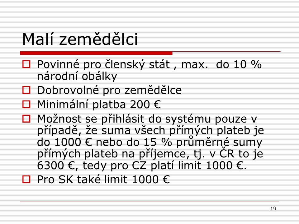 19 Malí zemědělci  Povinné pro členský stát, max. do 10 % národní obálky  Dobrovolné pro zemědělce  Minimální platba 200 €  Možnost se přihlásit d