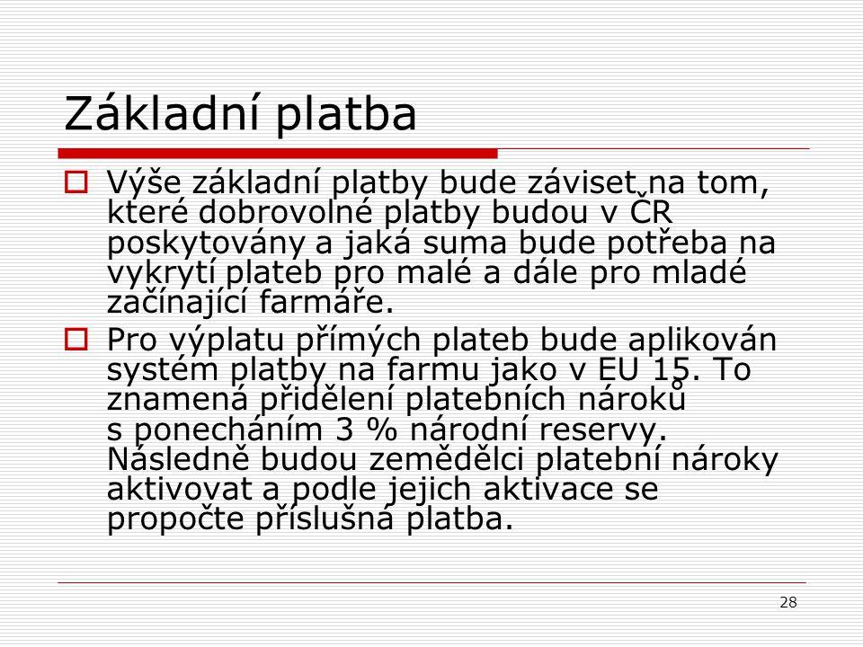 28 Základní platba  Výše základní platby bude záviset na tom, které dobrovolné platby budou v ČR poskytovány a jaká suma bude potřeba na vykrytí plat