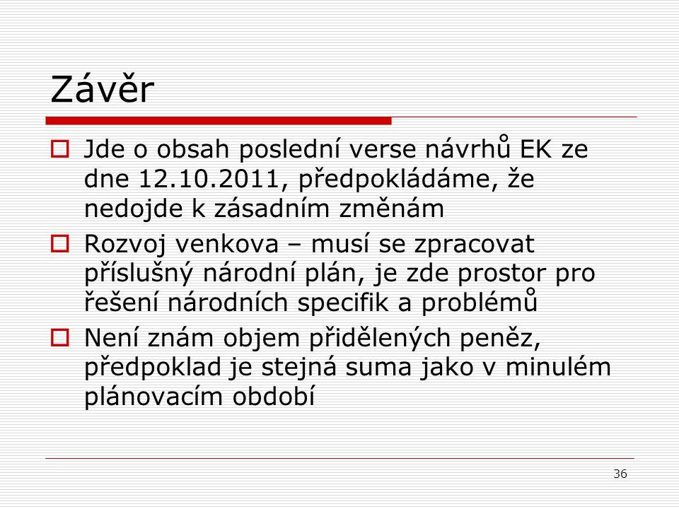 36 Závěr  Jde o obsah poslední verse návrhů EK ze dne 12.10.2011, předpokládáme, že nedojde k zásadním změnám  Rozvoj venkova – musí se zpracovat př
