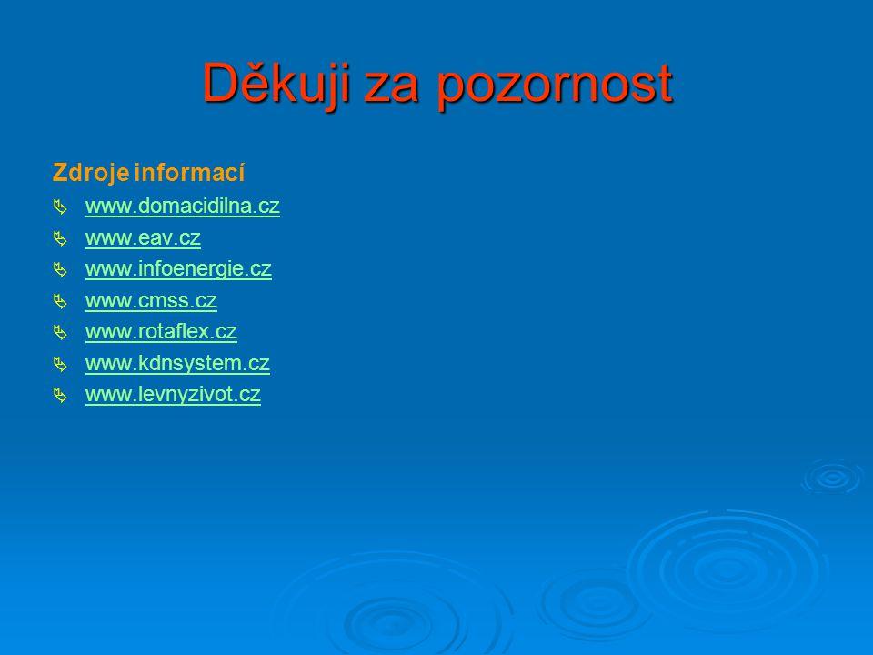 Děkuji za pozornost Zdroje informací   www.domacidilna.cz www.domacidilna.cz   www.eav.cz www.eav.cz   www.infoenergie.cz www.infoenergie.cz  