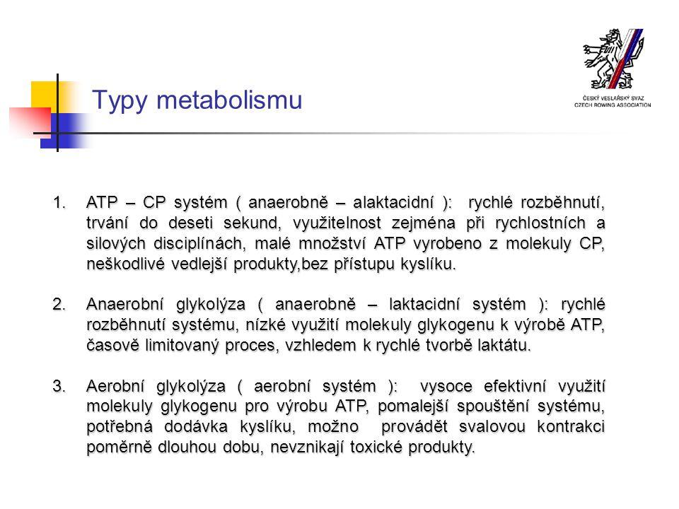 Vytrvalostní zatížení – trénink aerobního systému Intenzivní vytrvalostní trénink, (ANP) Anaerobní kapacit Vytrvalostní trénink střední intenzity (2 – 4 mmol/l) Základní vytrvalost II Objemový vytrvalostní trénink (2 mmol/l) Základní vytrvalost I Regenerační trénink