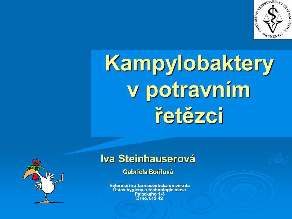 Kampylobaktery v potravním řetězci Iva Steinhauserová Gabriela Bořilová Veterinární a farmaceutická univerzita Ústav hygieny a technologie masa Palack