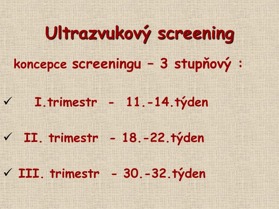 Ultrazvukový screening koncepce screeningu – 3 stupňový : I.trimestr - 11.-14.týden II. trimestr - 18.-22.týden III. trimestr - 30.-32.týden