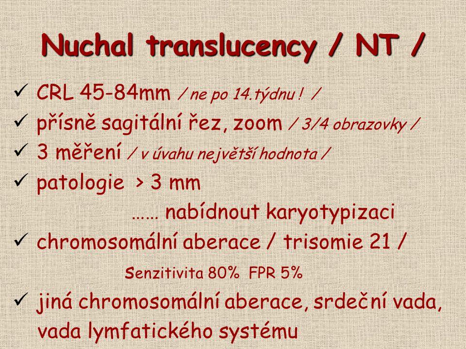 Nuchal translucency / NT / CRL 45-84mm / ne po 14.týdnu ! / přísně sagitální řez, zoom / 3/4 obrazovky / 3 měření / v úvahu největší hodnota / patolog