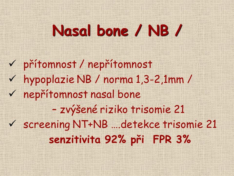 Nasal bone / NB / přítomnost / nepřítomnost hypoplazie NB / norma 1,3-2,1mm / nepřítomnost nasal bone – zvýšené riziko trisomie 21 screening NT+NB ….d