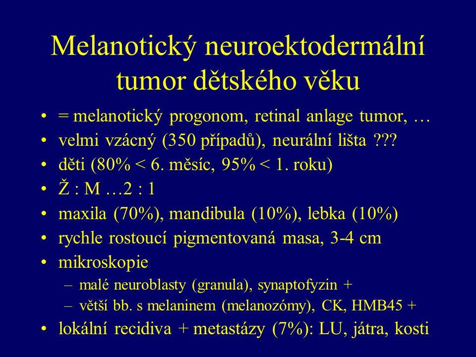 Melanotický neuroektodermální tumor dětského věku = melanotický progonom, retinal anlage tumor, … velmi vzácný (350 případů), neurální lišta ??.