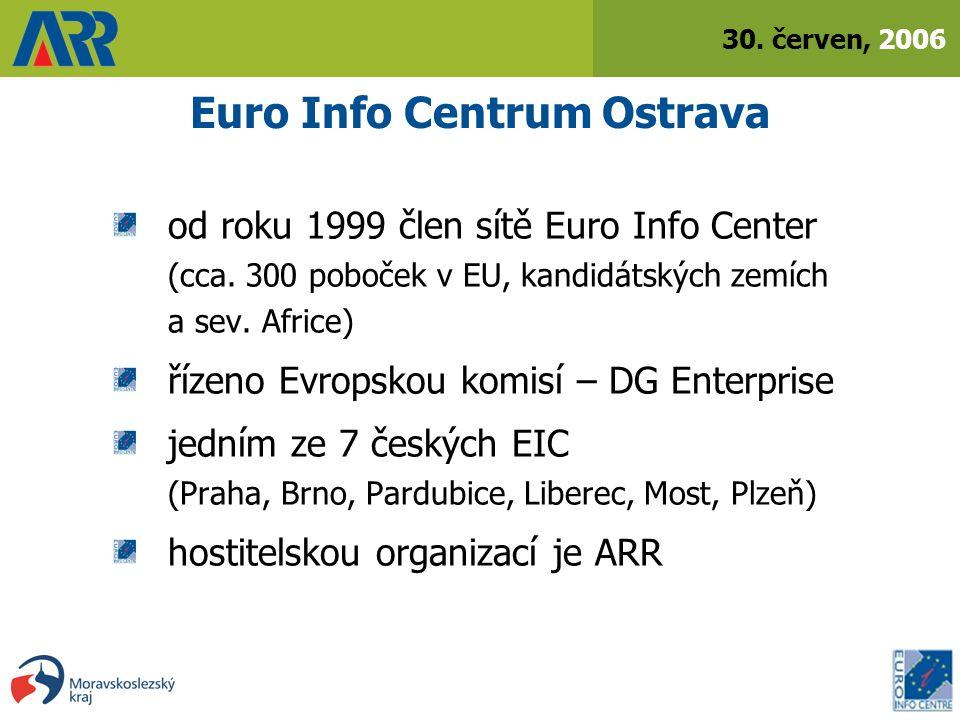 30. červen, 2006 Euro Info Centrum Ostrava od roku 1999 člen sítě Euro Info Center (cca.