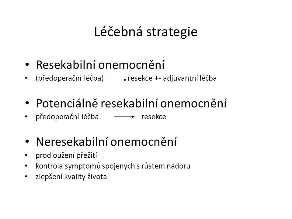 Léčebná strategie Resekabilní onemocnění (předoperační léčba) resekce +- adjuvantní léčba Potenciálně resekabilní onemocnění předoperační léčbaresekce Neresekabilní onemocnění prodloužení přežití kontrola symptomů spojených s růstem nádoru zlepšení kvality života