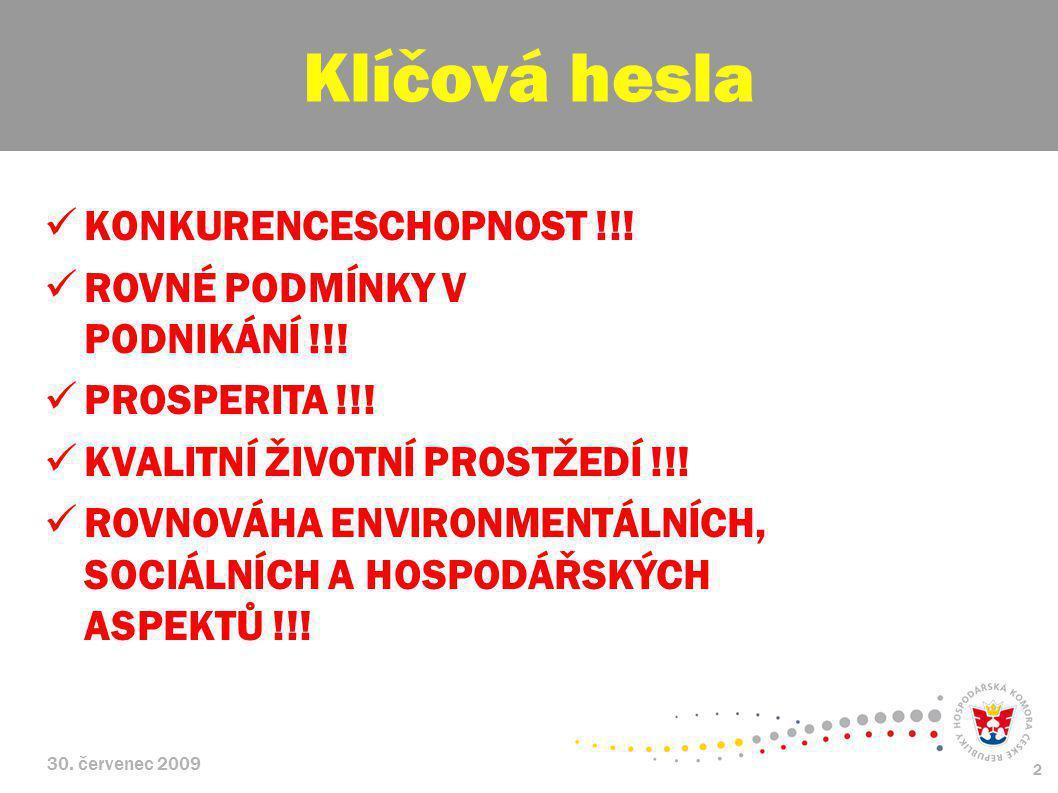 30. červenec 2009 2 KONKURENCESCHOPNOST !!! ROVNÉ PODMÍNKY V PODNIKÁNÍ !!! PROSPERITA !!! KVALITNÍ ŽIVOTNÍ PROSTŽEDÍ !!! ROVNOVÁHA ENVIRONMENTÁLNÍCH,