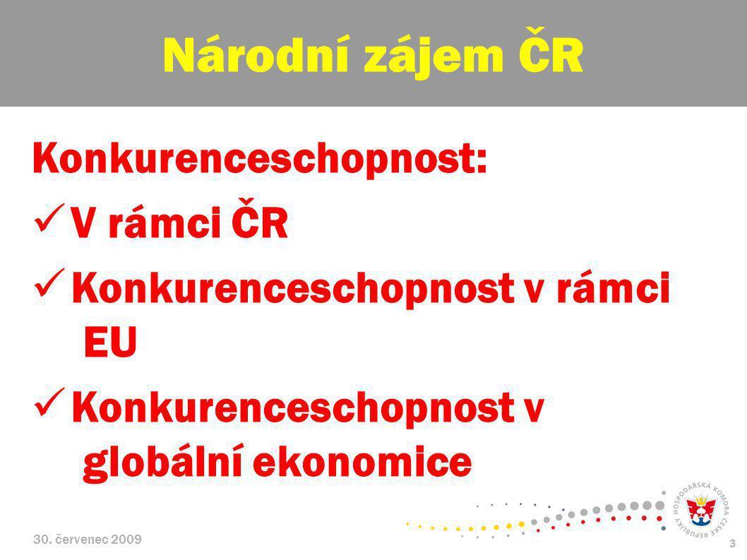 30. červenec 2009 3 Konkurenceschopnost: V rámci ČR Konkurenceschopnost v rámci EU Konkurenceschopnost v globální ekonomice Národní zájem ČR