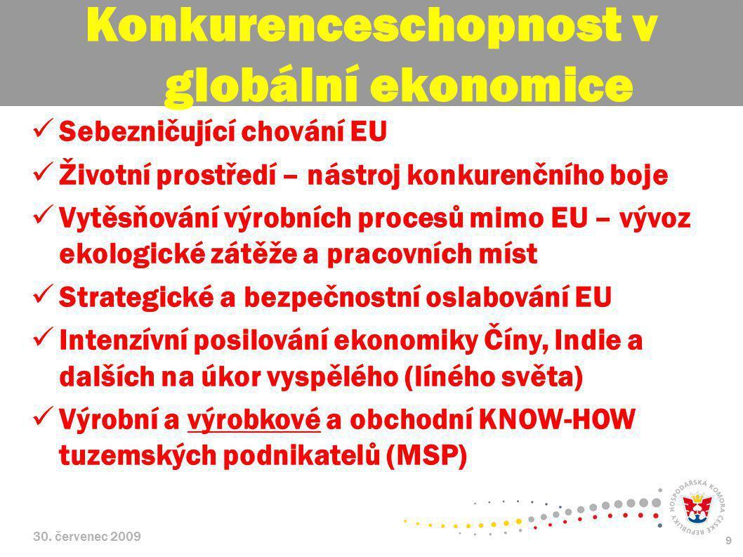 30. červenec 2009 9 Sebezničující chování EU Životní prostředí – nástroj konkurenčního boje Vytěsňování výrobních procesů mimo EU – vývoz ekologické z