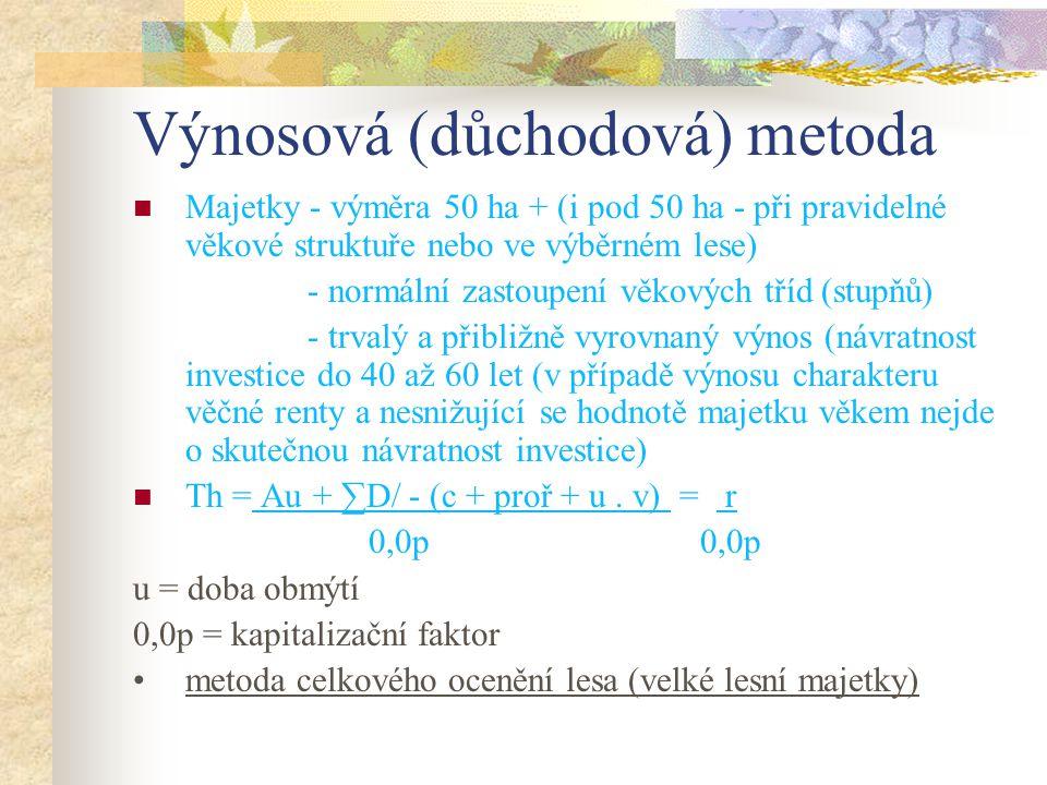 Výnosová (důchodová) metoda Majetky - výměra 50 ha + (i pod 50 ha - při pravidelné věkové struktuře nebo ve výběrném lese) - normální zastoupení věkov