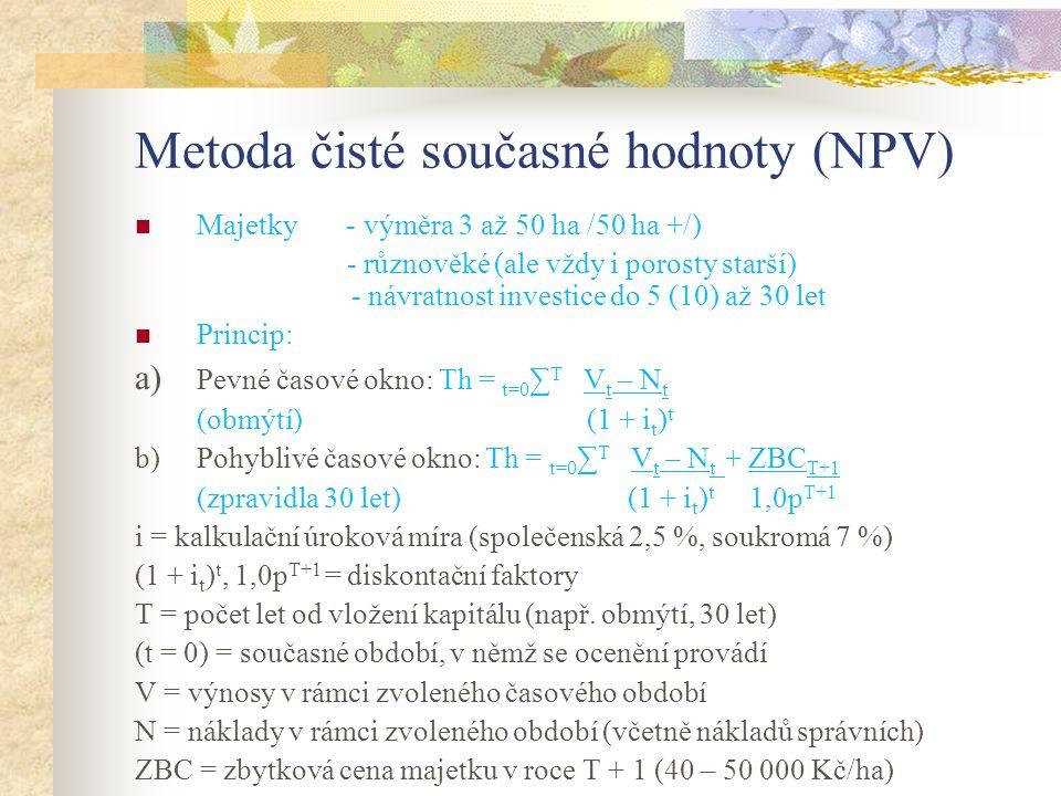 Metoda čisté současné hodnoty (NPV) Majetky - výměra 3 až 50 ha /50 ha +/) - různověké (ale vždy i porosty starší) - návratnost investice do 5 (10) až 30 let Princip: a) Pevné časové okno: Th = t=0 ∑ T V t – N t (obmýtí) (1 + i t ) t b) Pohyblivé časové okno: Th = t=0 ∑ T V t – N t + ZBC T+1 (zpravidla 30 let) (1 + i t ) t 1,0p T+1 i = kalkulační úroková míra (společenská 2,5 %, soukromá 7 %) (1 + i t ) t, 1,0p T+1 = diskontační faktory T = počet let od vložení kapitálu (např.