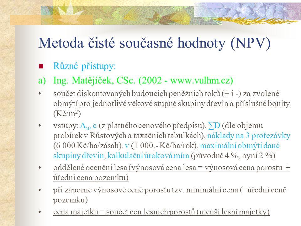 Metoda čisté současné hodnoty (NPV) Různé přístupy: a)Ing.