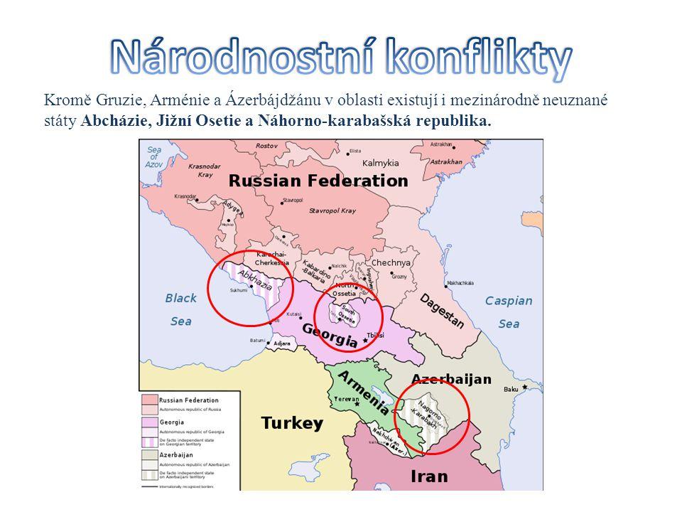 Kromě Gruzie, Arménie a Ázerbájdžánu v oblasti existují i mezinárodně neuznané státy Abcházie, Jižní Osetie a Náhorno-karabašská republika.