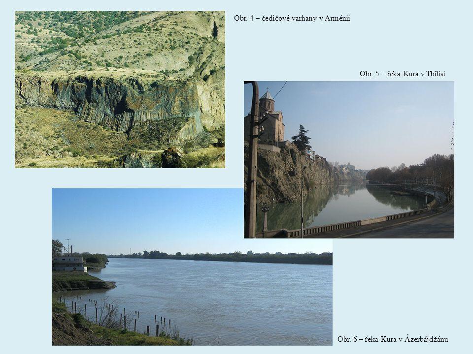 Obr. 4 – čedičové varhany v Arménii Obr. 5 – řeka Kura v Tbilisi Obr. 6 – řeka Kura v Ázerbájdžánu