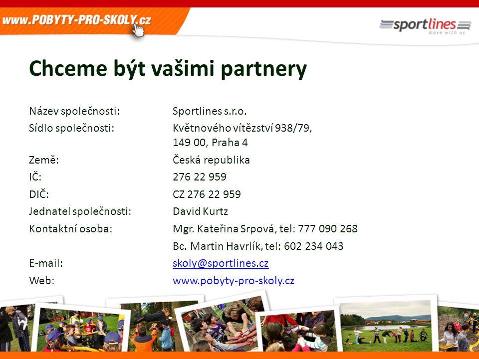 Chceme být vašimi partnery Název společnosti:Sportlines s.r.o. Sídlo společnosti: Květnového vítězství 938/79, 149 00, Praha 4 Země: Česká republika I