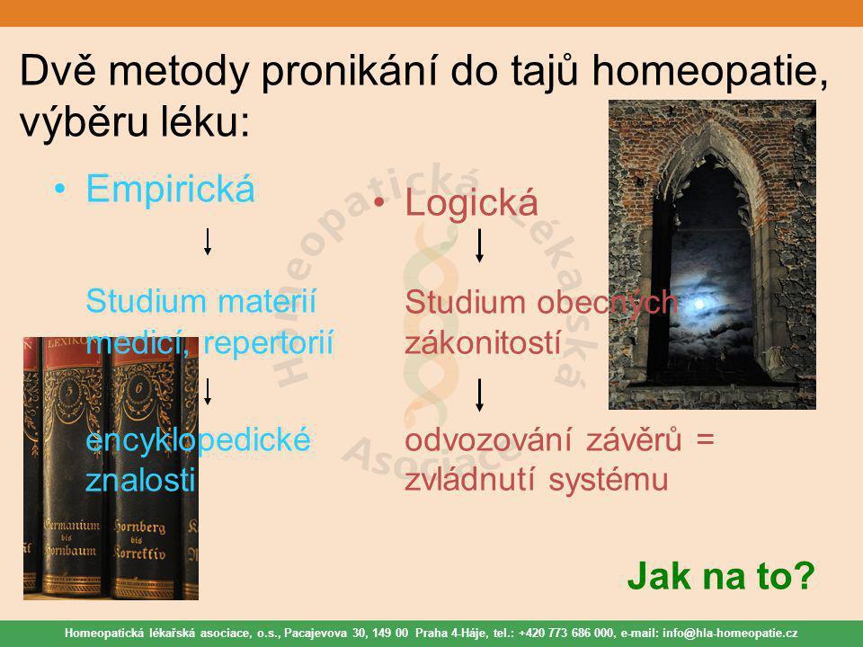 Homeopatická lékařská asociace, o.s., Pacajevova 30, 149 00 Praha 4-Háje, tel.: +420 773 686 000, e-mail: info@hla-homeopatie.cz Dvě metody pronikání