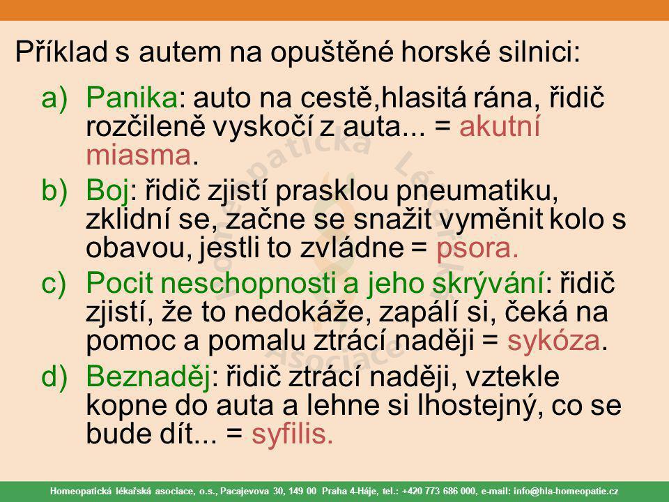 Homeopatická lékařská asociace, o.s., Pacajevova 30, 149 00 Praha 4-Háje, tel.: +420 773 686 000, e-mail: info@hla-homeopatie.cz a)Panika: auto na ces