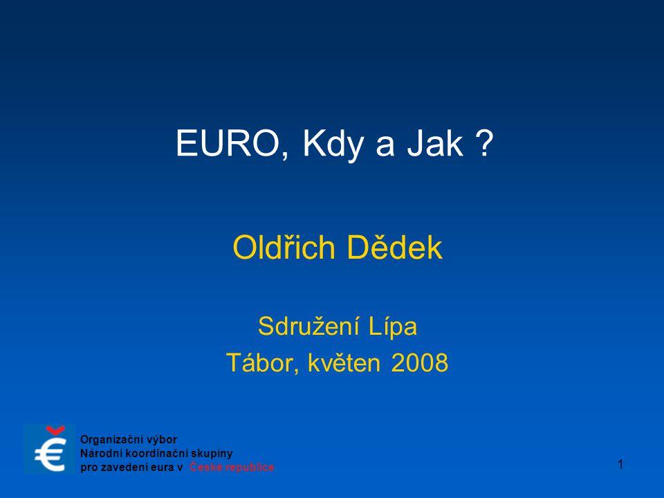 """2 Charakteristické rysy současné situace  Aktualizovaná eurostrategie nestanovila nové datum zavedení eura  Duben 2007: vláda schválila Národní plán zavedení eura v ČR s plánem úkolů na nejbližší období (scénář """"velkého třesku )  Duben 2008: vláda přijala Zprávu o plnění Národního plánu zavedení eura v ČR """"Zpráva je vedena názorem, že existuje celá řada aktivit souvisejících s budoucím zavedením eura, které je možné i účelné vykonávat s předstihem i bez znalosti závazného termínu jeho zavedení."""