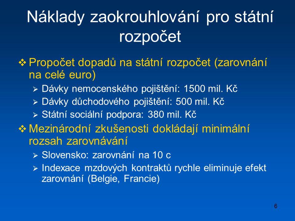 6 Náklady zaokrouhlování pro státní rozpočet  Propočet dopadů na státní rozpočet (zarovnání na celé euro)  Dávky nemocenského pojištění: 1500 mil.