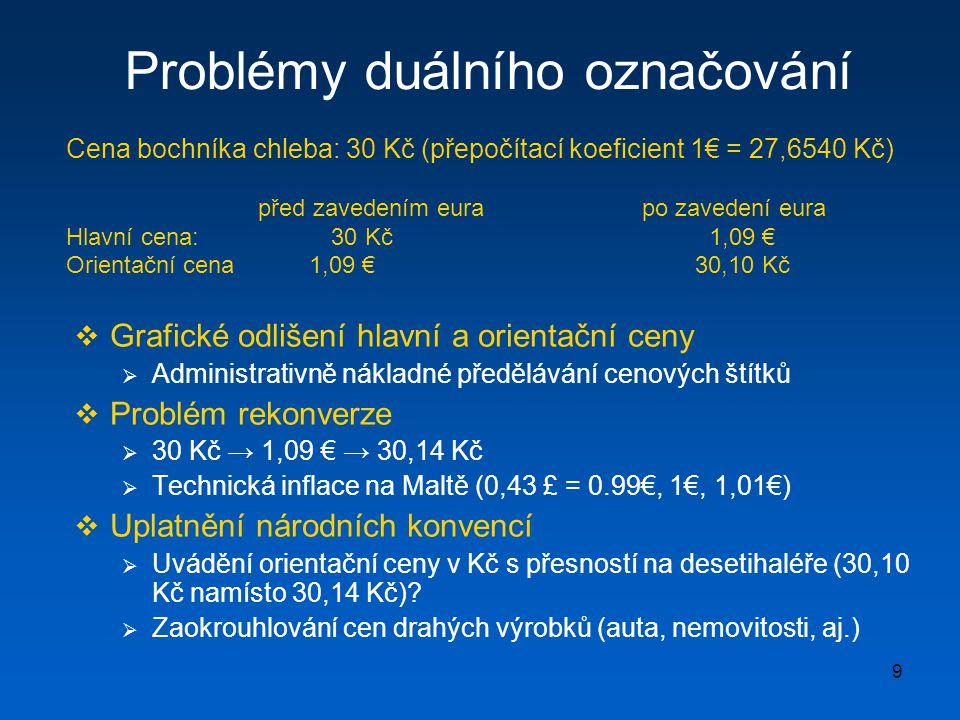 9 Problémy duálního označování  Grafické odlišení hlavní a orientační ceny  Administrativně nákladné předělávání cenových štítků  Problém rekonverze  30 Kč → 1,09 € → 30,14 Kč  Technická inflace na Maltě (0,43 £ = 0.99€, 1€, 1,01€)  Uplatnění národních konvencí  Uvádění orientační ceny v Kč s přesností na desetihaléře (30,10 Kč namísto 30,14 Kč).
