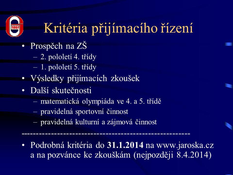 Kritéria přijímacího řízení Prospěch na ZŠ –2. pololetí 4.