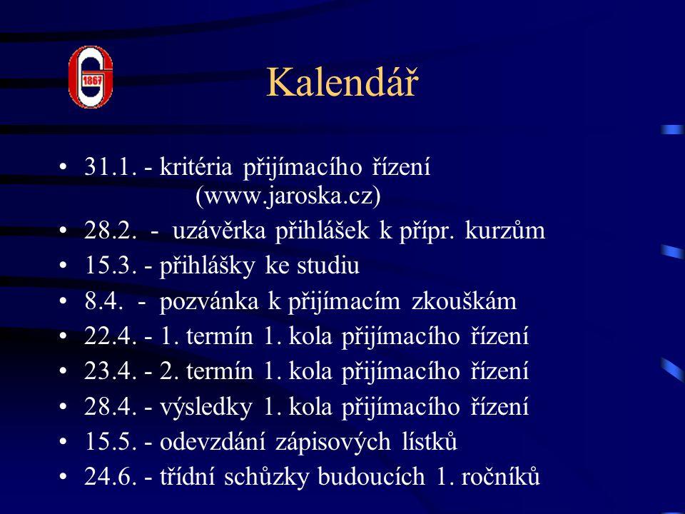 Kalendář 31.1.- kritéria přijímacího řízení (www.jaroska.cz) 28.2.