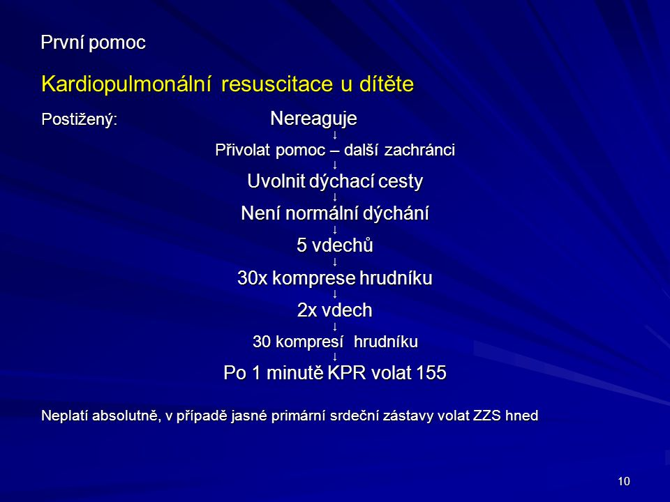 10 První pomoc Kardiopulmonální resuscitace u dítěte Postižený: Nereaguje ↓ Přivolat pomoc – další zachránci ↓ Uvolnit dýchací cesty ↓ Není normální d