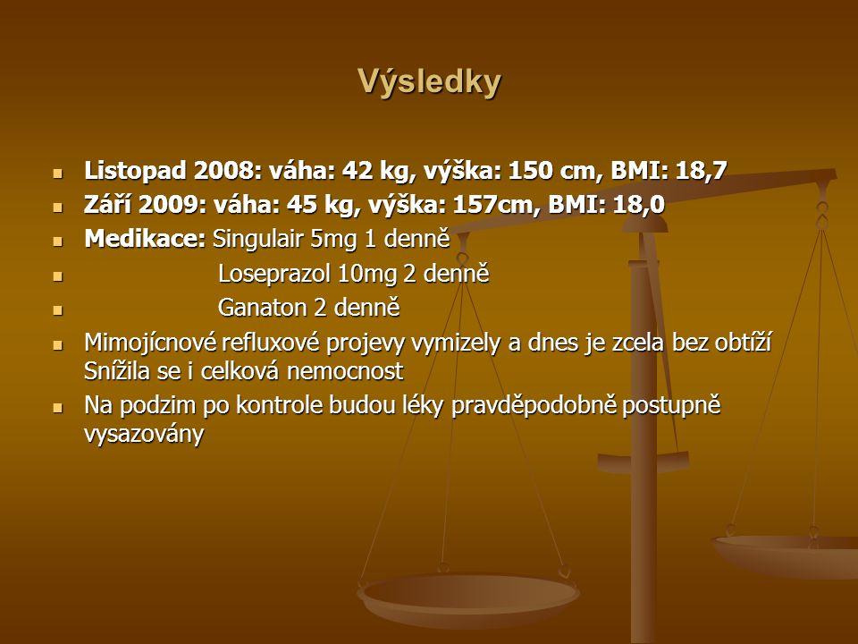 Výsledky Listopad 2008: váha: 42 kg, výška: 150 cm, BMI: 18,7 Listopad 2008: váha: 42 kg, výška: 150 cm, BMI: 18,7 Září 2009: váha: 45 kg, výška: 157cm, BMI: 18,0 Září 2009: váha: 45 kg, výška: 157cm, BMI: 18,0 Medikace: Singulair 5mg 1 denně Medikace: Singulair 5mg 1 denně Loseprazol 10mg 2 denně Loseprazol 10mg 2 denně Ganaton 2 denně Ganaton 2 denně Mimojícnové refluxové projevy vymizely a dnes je zcela bez obtíží Snížila se i celková nemocnost Mimojícnové refluxové projevy vymizely a dnes je zcela bez obtíží Snížila se i celková nemocnost Na podzim po kontrole budou léky pravděpodobně postupně vysazovány Na podzim po kontrole budou léky pravděpodobně postupně vysazovány