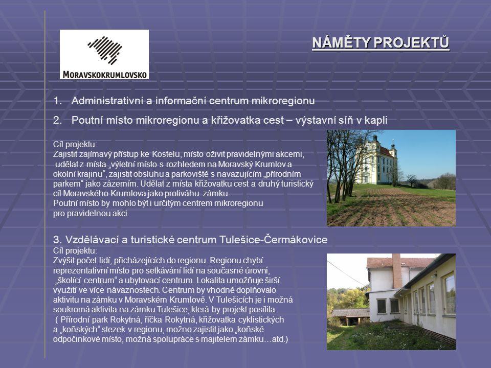 NÁMĚTY PROJEKTŮ 1.Administrativní a informační centrum mikroregionu 2.Poutní místo mikroregionu a křižovatka cest – výstavní síň v kapli Cíl projektu: