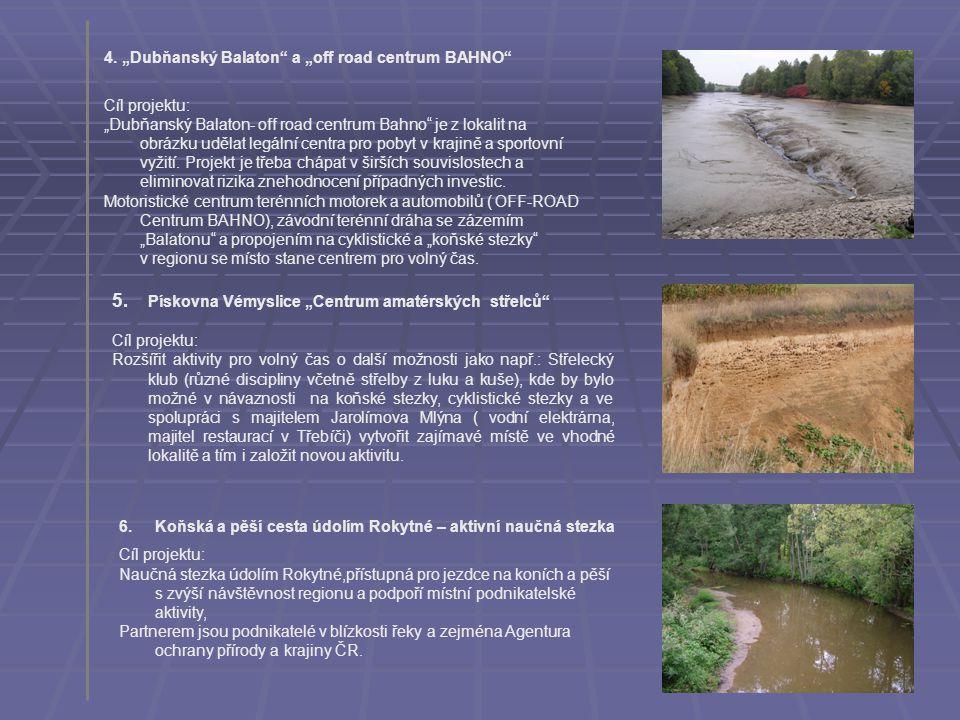 """4. """"Dubňanský Balaton"""" a """"off road centrum BAHNO"""" Cíl projektu: """"Dubňanský Balaton- off road centrum Bahno"""" je z lokalit na obrázku udělat legální cen"""