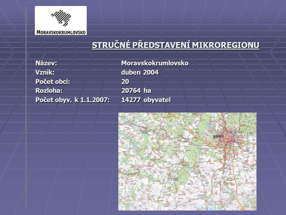 STRUČNÉ PŘEDSTAVENÍ MIKROREGIONU Název: Moravskokrumlovsko Vznik: duben 2004 Počet obcí: 20 Rozloha: 20764 ha Počet obyv. k 1.1.2007:14277 obyvatel