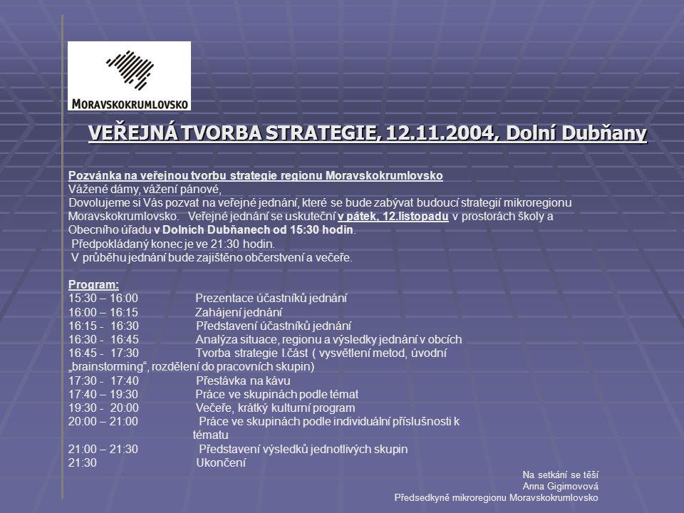VEŘEJNÁ TVORBA STRATEGIE, 12.11.2004, Dolní Dubňany Pozvánka na veřejnou tvorbu strategie regionu Moravskokrumlovsko Vážené dámy, vážení pánové, Dovol