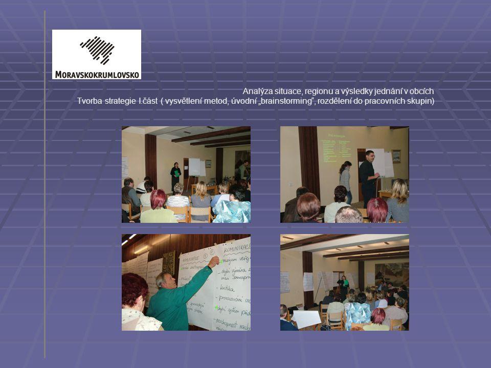 """Analýza situace, regionu a výsledky jednání v obcích Tvorba strategie I.část ( vysvětlení metod, úvodní """"brainstorming"""", rozdělení do pracovních skupi"""