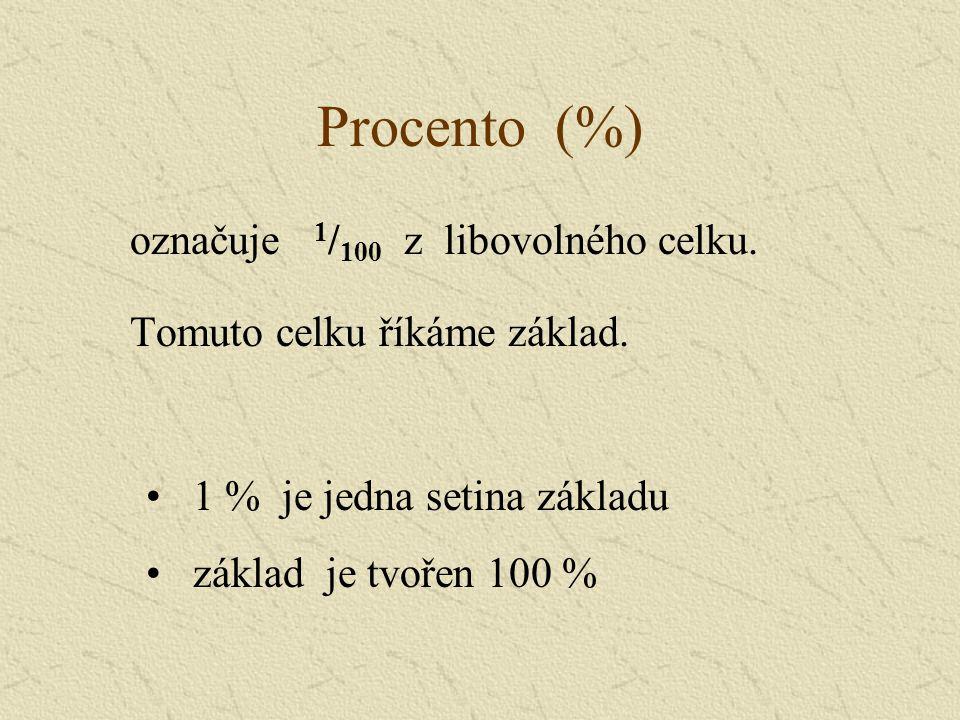 Určení 1 % Určete 1 % ze 300 100 %...........300 1 %...........