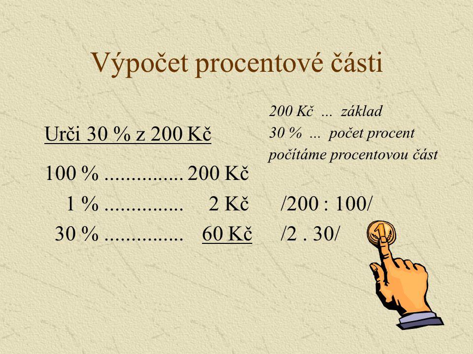 Výpočet procentové části 100 %...............200 Kč 1 %...............