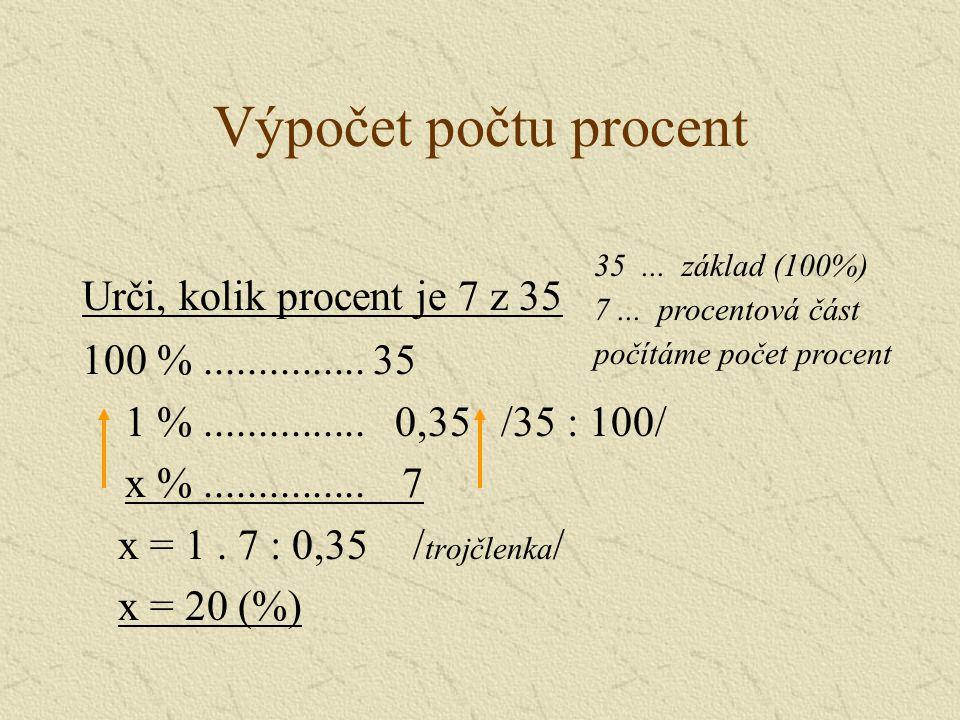 Výpočet počtu procent – jiný způsob Urči, kolik procent je 7 z 35 z...............