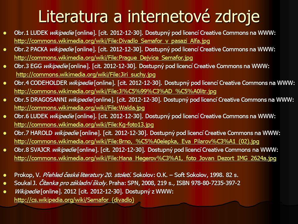 Literatura a internetové zdroje Obr.1 LUDEK wikipedie [online]. [cit. 2012-12-30]. Dostupný pod licencí Creative Commons na WWW: Obr.1 LUDEK wikipedie