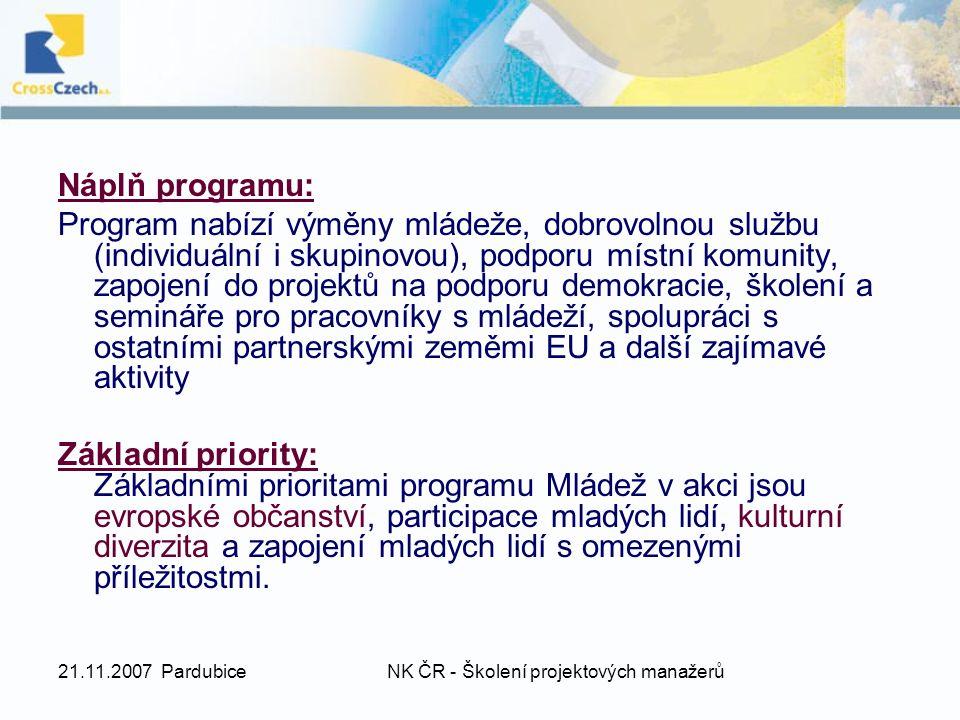21.11.2007 PardubiceNK ČR - Školení projektových manažerů Náplň programu: Program nabízí výměny mládeže, dobrovolnou službu (individuální i skupinovou), podporu místní komunity, zapojení do projektů na podporu demokracie, školení a semináře pro pracovníky s mládeží, spolupráci s ostatními partnerskými zeměmi EU a další zajímavé aktivity Základní priority: Základními prioritami programu Mládež v akci jsou evropské občanství, participace mladých lidí, kulturní diverzita a zapojení mladých lidí s omezenými příležitostmi.